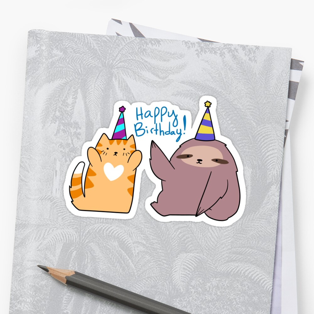 Happy Birthday! Sloth and Orange Tabby Cat Sticker