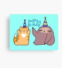 Happy Birthday! Sloth and Orange Tabby Cat Canvas Print