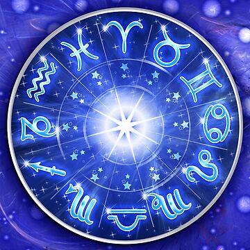 Zodiac Signs Blue Galaxy Circle  by BluedarkArt