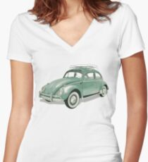 Green Beetle VW | Cars Women's Fitted V-Neck T-Shirt