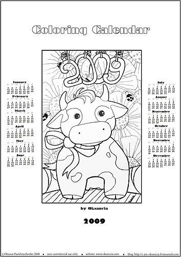 Free printable coloring calendar 2009 by oksancia