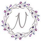 Monogramm-Buchstabe N | Personalisiert | Aquarell Design von PraiseQuotes