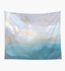 Blue Paint Swirled Print with Gold Accents Wall Tapestry