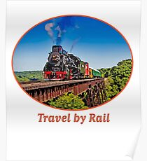 """Travel by Rail"" Cool Vintage Steam Train engine Poster"