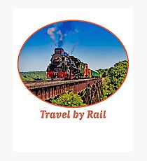 """Travel by Rail"" Cool Vintage Steam Train engine Photographic Print"