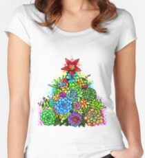 Succulent Christmas Tree ( Beige ) Women's Fitted Scoop T-Shirt