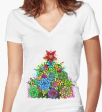 Succulent Christmas Tree ( Beige ) Women's Fitted V-Neck T-Shirt