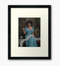 Vintage, Oil painting woman Framed Print