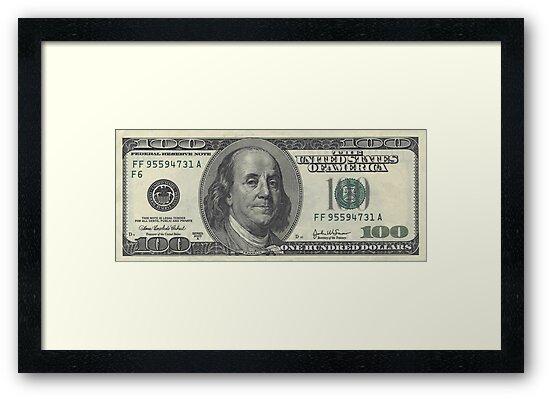 Quot 100 Dollar Bill Quot Framed Art Print By Mredvin Redbubble