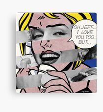 "Roy Lichtenstein's ""Oh, Jeff I Love You, Too But..."" & Marylin Monroe Canvas Print"