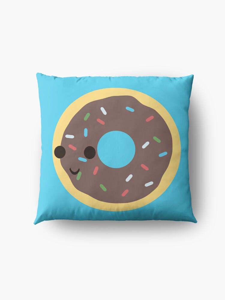 Alternate view of Cute Chocolate Glazed donut with sprinkles Floor Pillow