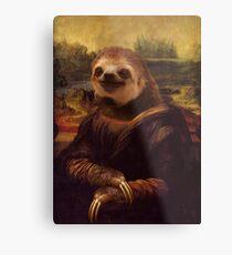 Sloth Mona Lisa Metal Print