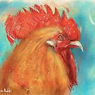 Orange Rooster Painting on Bluish Background - Vintage Style by ibadishi