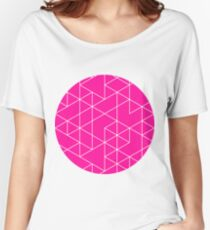 triangles, white and saturated pink Women's Relaxed Fit T-Shirt