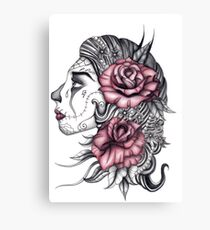 Face with Roses Canvas Print