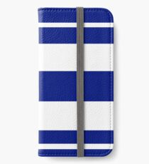 Navy blue and white stripe pattern iPhone Wallet/Case/Skin