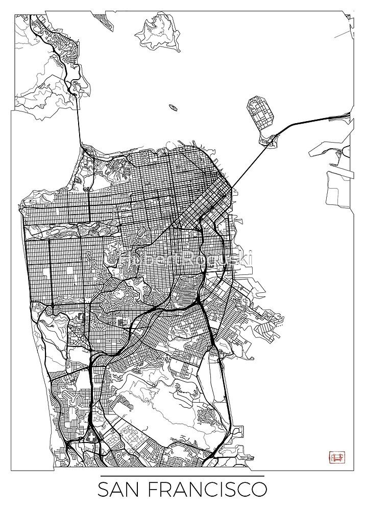 San Francisco Karte Minimal von HubertRoguski