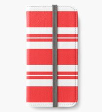 Tomato red and white stripe pattern  iPhone Wallet/Case/Skin