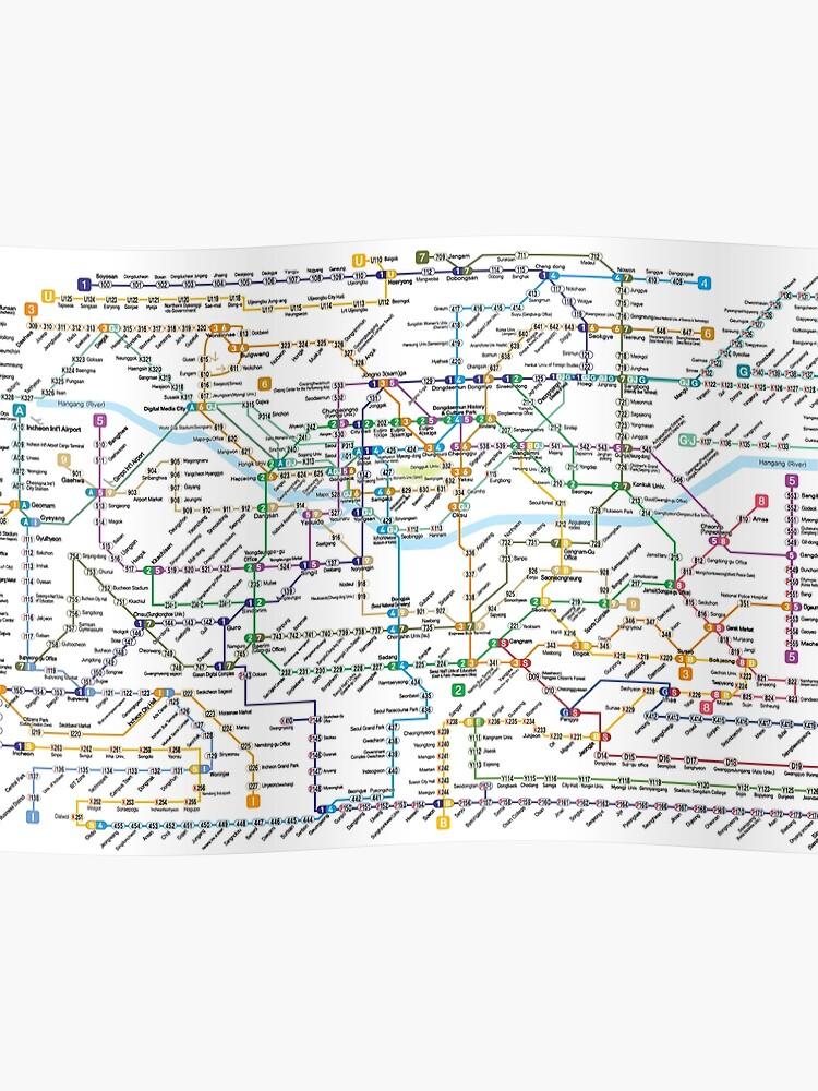 Subway Map.Seoul Metropolitan Subway Map Poster