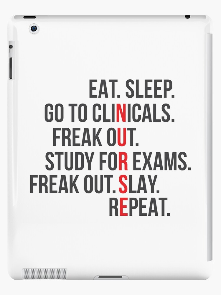 \'Funny Nurse Quote - Eat Sleep RN LPN Clinicals Nursing Student Gift\' iPad  Case/Skin by Blazesavings