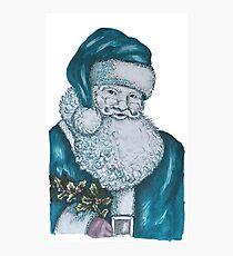 Santa in Blue Photographic Print