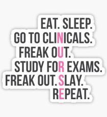 Funny Nurse Quote - Eat Sleep RN LPN Clinicals Nursing Gift Sticker