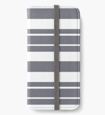Steel gray and white stripe pattern iPhone Wallet/Case/Skin