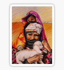 Bedouin family with a lamb Sticker