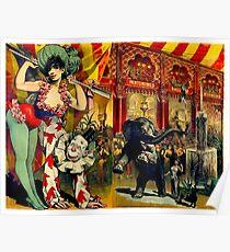 ZIRKUS: Zirkus-Werbungs-Druck der Weinlese-1890 Poster