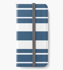 Teal blue and white stripe pattern iPhone Wallet/Case/Skin