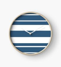 Teal blue and white stripe pattern Clock