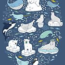 Arctic Animal Icebergs - blue and mustard - Fun Pattern by Cecca Designs by Cecca-Designs