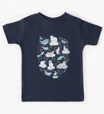 Arctic Animal Icebergs - blue and mustard - Fun Pattern by Cecca Designs Kids Tee