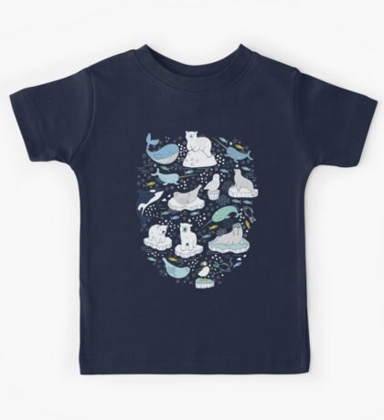 Arctic Animal Icebergs - blue and mustard - Fun Pattern by Cecca Designs Kids Clothes