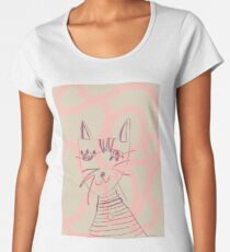 Abstract Squiggly Cat Illustration in Mint and Pink Women's Premium T-Shirt