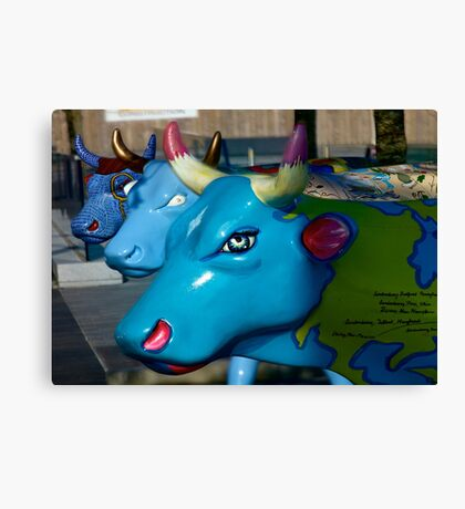 Three Cows on Parade, Ebrington Sq, Derry Canvas Print