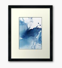 Indigo Blue Sea, Abstract Ink Painting Framed Print