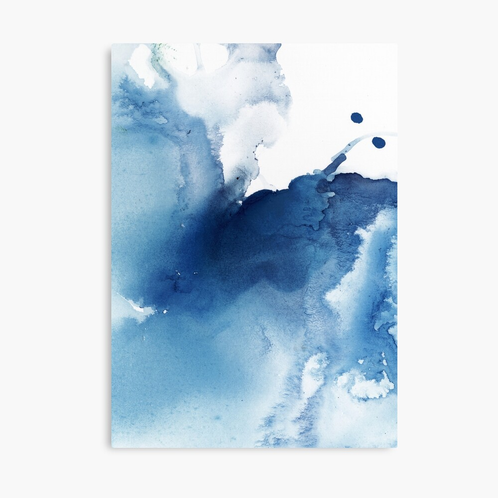 Indigo Blue Sea, Abstract Ink Painting Canvas Print