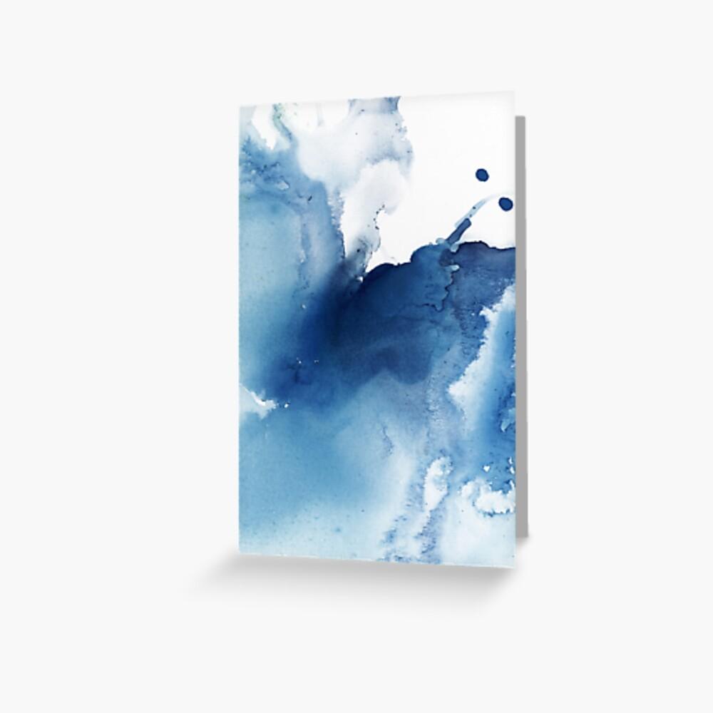 Indigo Blue Sea, Abstract Ink Painting Greeting Card