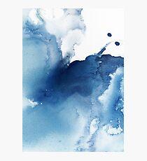 Indigo Blue Sea, abstrakte Tintenmalerei Fotodruck