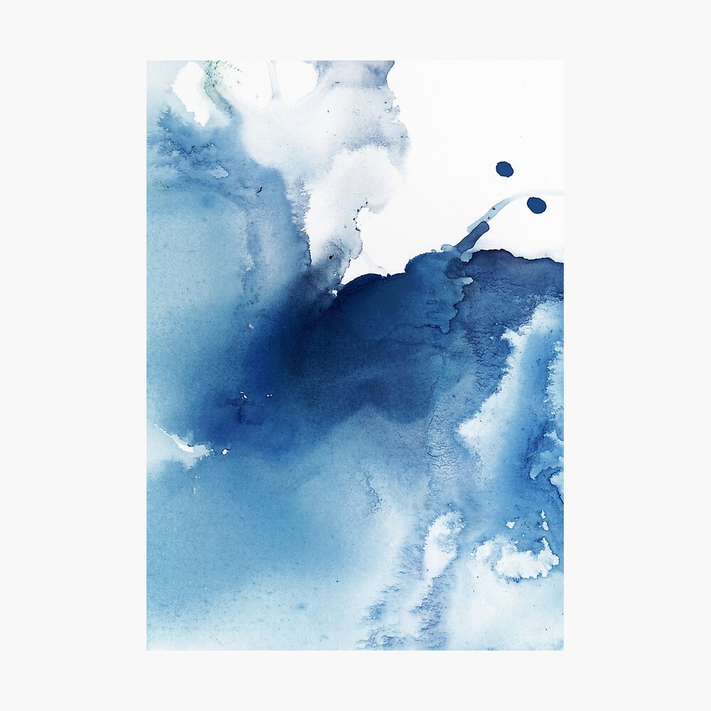 Indigo Blue Sea, Abstract Ink Painting Photographic Print