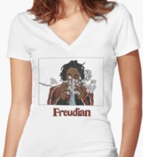 FREUDIAN Women's Fitted V-Neck T-Shirt