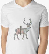 Deer with Letter I Men's V-Neck T-Shirt