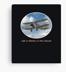 """Cool vintage retro biplane: """"Life is Better in the Clouds"""" aviation, flying Canvas Print"""