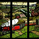 Leadlight Window of train in rural West Gippsland setting No 3 by Bev Pascoe