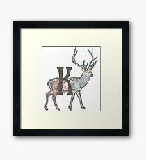 Deer with Letter K Framed Print