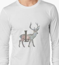 Deer with Letter L Long Sleeve T-Shirt