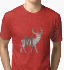 Deer with Letter M Tri-blend T-Shirt