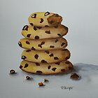 Stack of Chocolate Chip Cookies by Pamela Burger