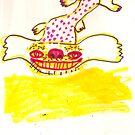 Happy Birthday Flying Dog Dragon by Rina Miriam  Drescher